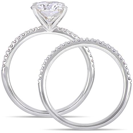 14K Gold 2ct Moissanite and 0.23ctw Diamond Solitaire Ring Set