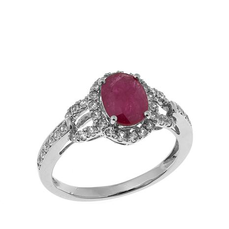 14K Gold 3.25ctw Mozambique Ruby and Zircon Ring