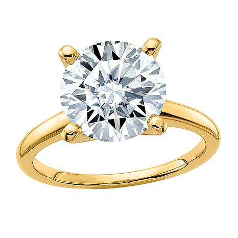 14K Gold 3.60ct Moissanite Round-Cut Solitaire Ring