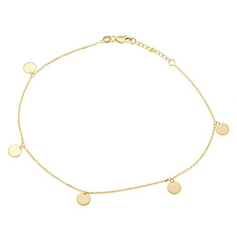 14K Gold Dangle Disc Anklet