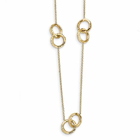 14K Gold Diamond-Cut and Polished Station Necklace