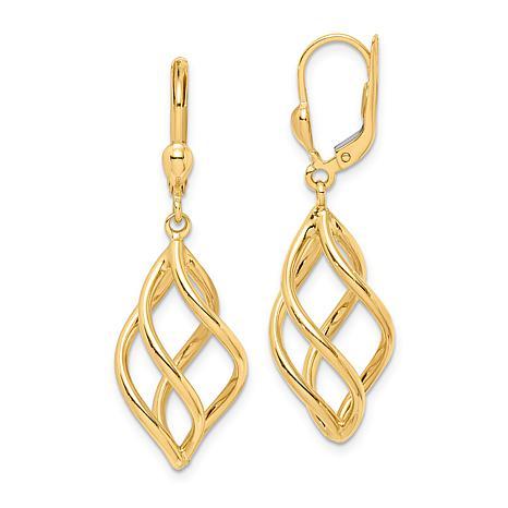 14k Gold Open Spiral Dangle Earrings