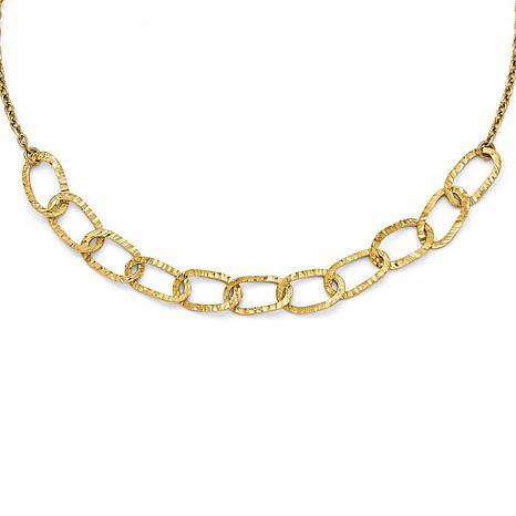 14K Gold Two-Tone Polished and Diamond-Cut Link Necklace
