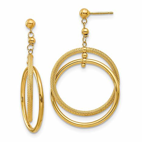 14K Polished and Textured Circle Dangle Post Earrings
