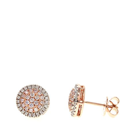 14K Rose Gold 0.38ctw Pink and White Diamond Stud Earrings ... 531b417820
