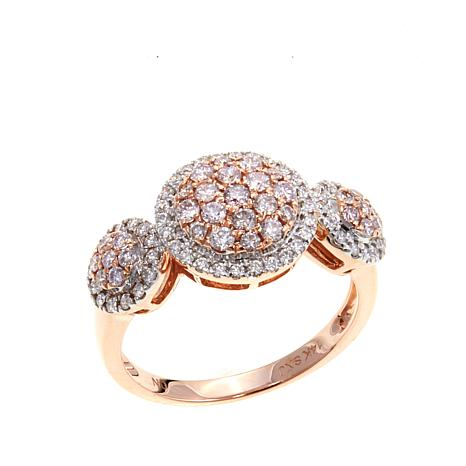 14K Rose Gold 0.51ctw Pink and White Diamond Ring