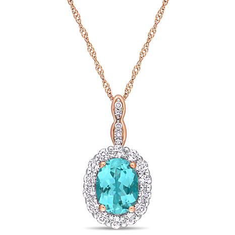 75b3b3ab7 14K Rose Gold Diamond Accent with Apatite and White Topaz Drop Pendant -  9156234 | HSN