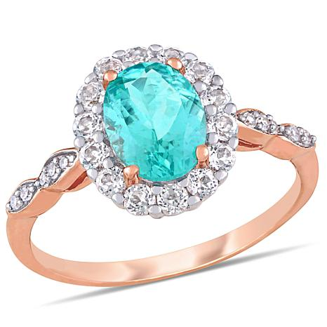 14K Rose Gold Diamond Accent with Apatite and White Topaz Halo Ring