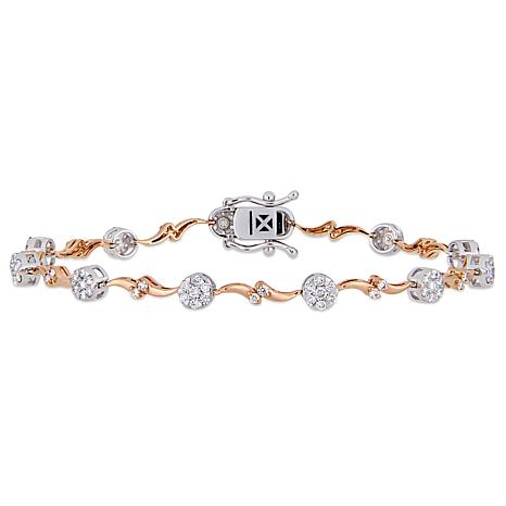 14K White and Rose Gold 1.16ctw Diamond Stationed Tennis Bracelet