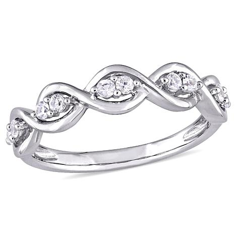 14K White Gold 0.3ctw White Sapphire Stackable Infinity