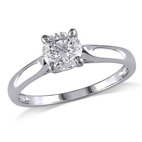 14K White Gold 0.5ct Moissanite Round Solitaire Cutout Band Ring