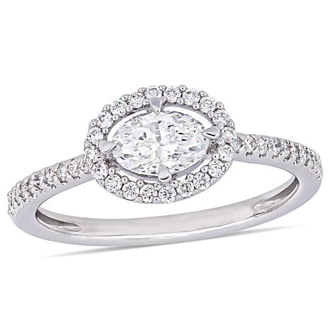 14K White Gold 0.7ctw Oval and Round Diamond Engagement Ring