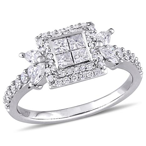 f0f7e3a59 14K White Gold 0.94ctw Four-Square Diamond Engagement Ring - 8487238 | HSN