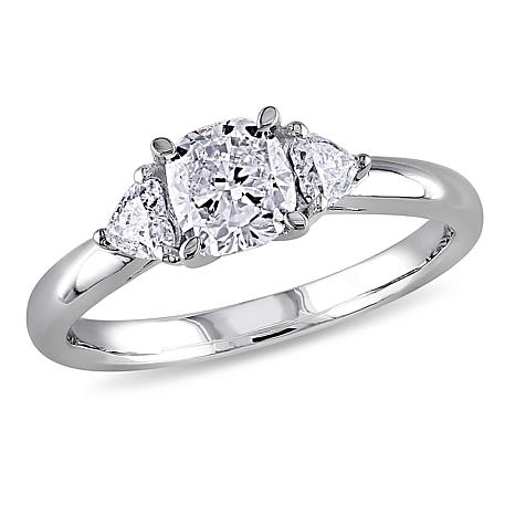 14k White Gold 0 95ctw 3 Stone Diamond Engagement Ring 8657321 Hsn