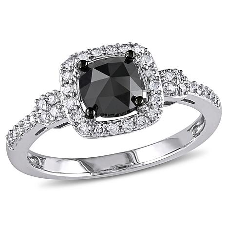 14K White Gold 1.01ctw Black and White Diamond Ring