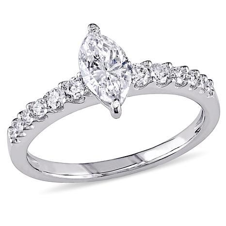 14K White Gold 1.01ctw Marquise Diamond Engagement Ring