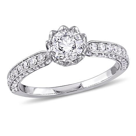 14K White Gold 1.24ctw Round Diamond Engagement Ring