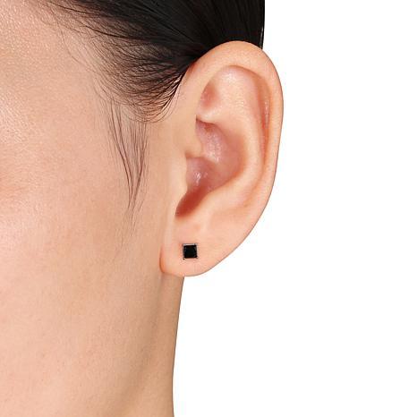 14k White Gold 1ctw Black Diamond Princess Cut Stud Earrings 7751208 Hsn