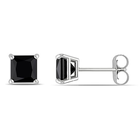 14k White Gold 1ctw Black Diamond Princess Cut Studs