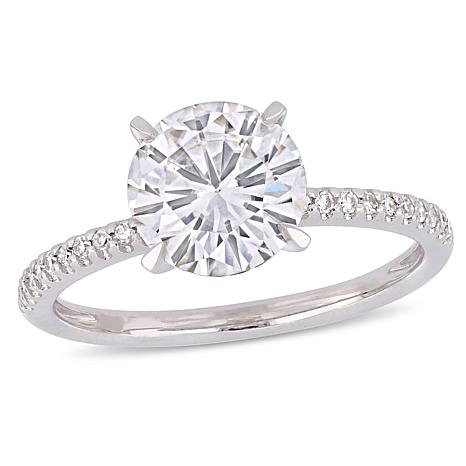 14K White Gold 2ct Moissanite Solitaire 0.11ctw Diamond-Accented Ring