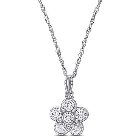 "14K White Gold .50ctw Diamond Flower Pendant with 18"" Chain"