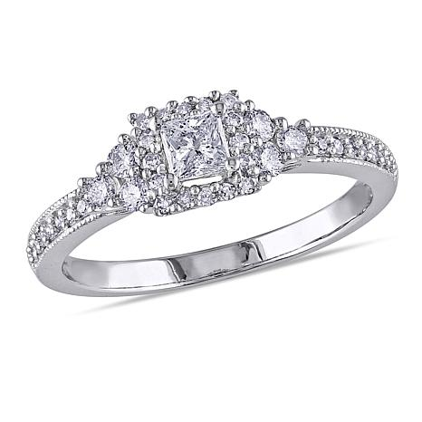 14K White Gold .50ctw Diamond Princess Milgrain Ring