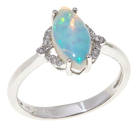 14K White Gold Ethiopian Opal and Diamond Marquise Ring