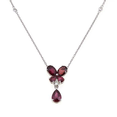 14K White Gold Gemstone and Diamond Floral Necklace