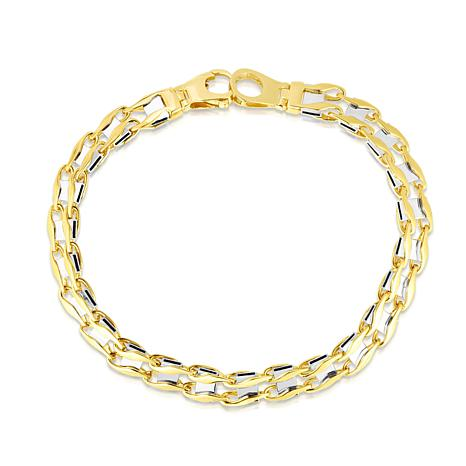 """14K Yellow and White Gold  Railroad Bracelet with Lobster  - 8-1/2"""""""