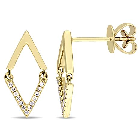 14K Yellow Gold 0.07ct Diamond Open Diamond-Shaped Earrings