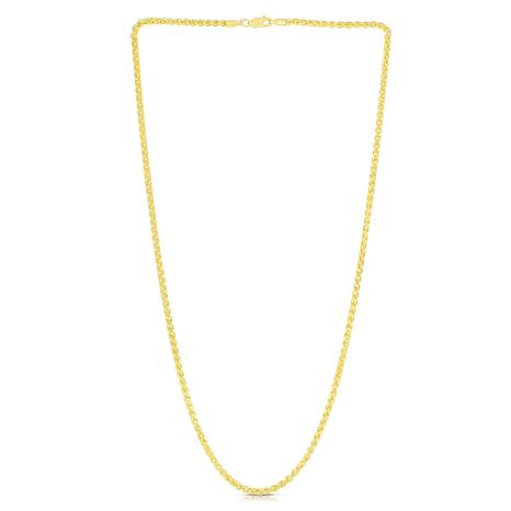 14K Yellow Gold 2.8mm Round Wheat Chain Necklace - 20""