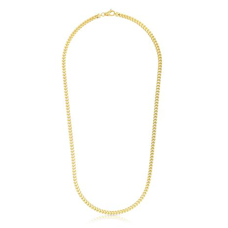14K Yellow Gold 3.9mm Semi-Solid Square Franco Chain Necklace - 24""