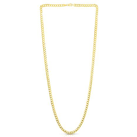 14K Yellow Gold 4.3mm Oval Comfort Curb Chain Necklace - 20""
