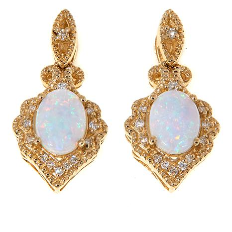 14k Yellow Gold Australian Opal Diamond Drop Earrings