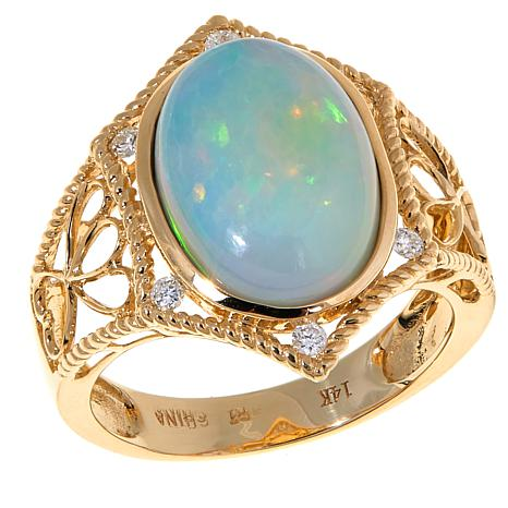 14K Yellow Gold Ethiopian Opal Diamond-Accented Ring