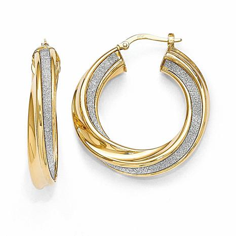 14K Yellow Gold Polished Glimmer-Infused Twisted Hinged Hoop Earrings