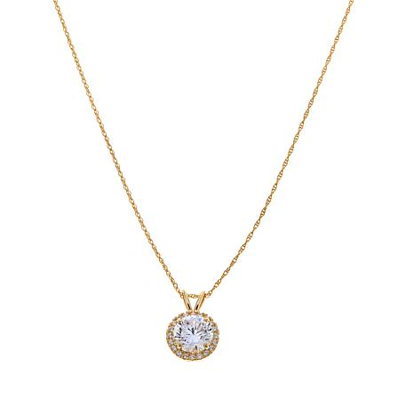 "1.60ctw Absolute™ 10K Round Halo Pendant with 18"" Chain"