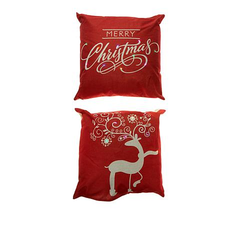 "17"" Decorative LED Pillow 2pk with Timer - Reindeer & Merry Christmas"
