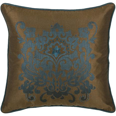 "18"" x 18"" Fancy Floral Pillow - Peacock Blue/Brown"