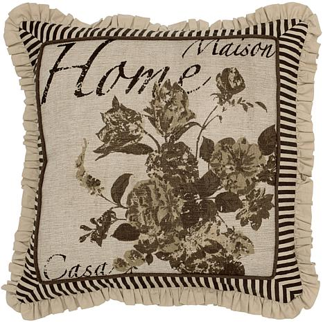 "18"" x 18"" Vintage Home Pillow - Beige/Black"