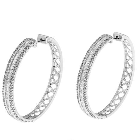 1.8ctw White Diamond Baguette Sterling Silver Hoop Earrings