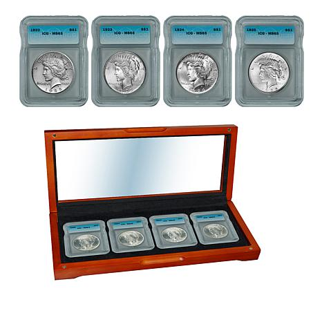 1922-1925 MS65 P-Mint Silver Peace Dollar 4-Coin Set