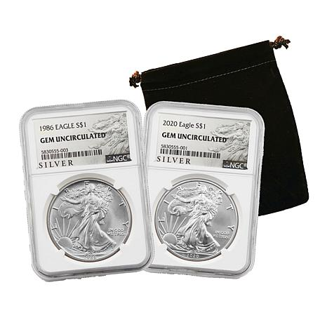 1986 and 2020  NGC Gem Uncirculated Silver Eagle 2-Coin Set