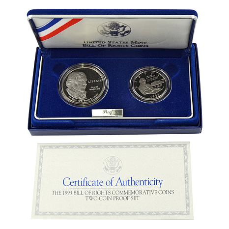 1993 Bill of Rights 2pc Proof Commemorative Coin Set