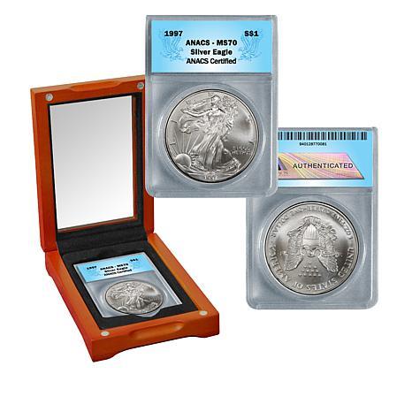 1997 MS70 ANACS Silver Eagle Dollar Coin
