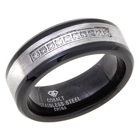 .1ctw Diamond Stainless Steel & Cobalt 8mm Wedding Band