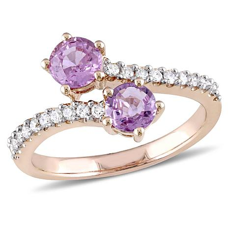 1ctw Pink Sapphire and Diamond 10K  Pavé Bypass Ring