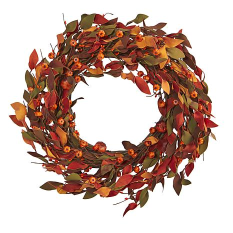 20 in. Harvest Leaf and Mini Pumpkin Artificial Wreath