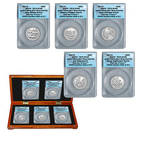 2017 PR70 S-Mint FDOI LE 217 DCAM National Parks Quarters 5-Coin Set