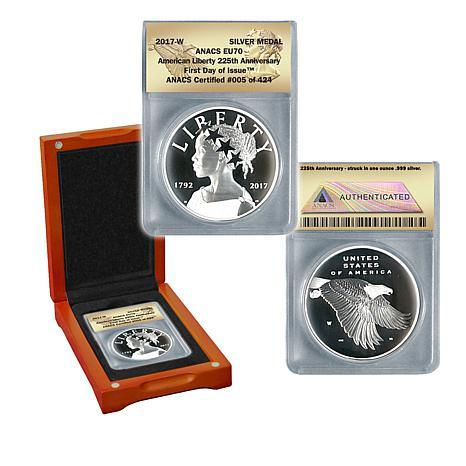 2017-W EU70 ANACS FDOI LE 424 American Liberty Silver Medal
